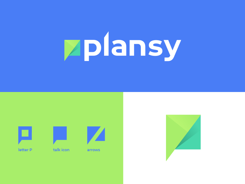 Plansy post letter turquoise green white blue shadow vector design icon branding logotype logo communication speak talk p arrow network social