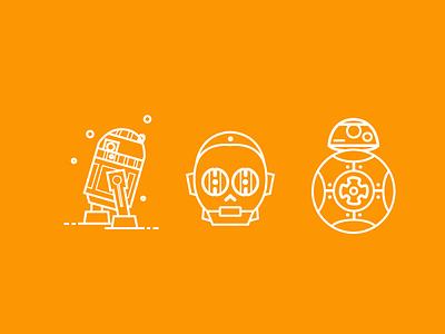 Star Wars orange white concept c3po darth vader r2d2 bb8 illustrator star wars starwars