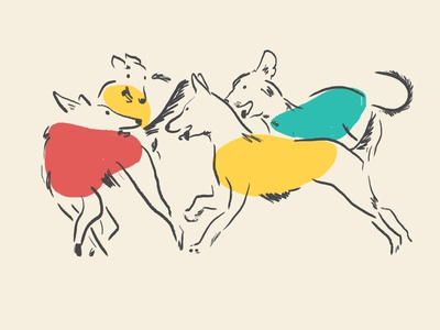 Dancing Dogs primary colors graphic design dog design illustration