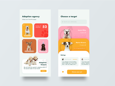 Pet adoption app design sketch ui