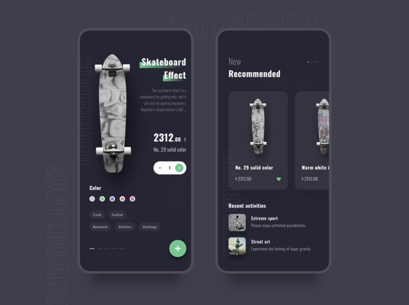 Skateboarding app figma design ui