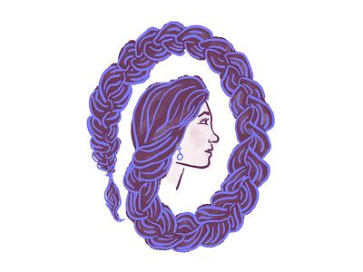 Selfie Portrait photoshop braid hair doodle silhouette profile lady girl portrait selfie