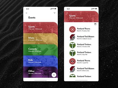 Events App sports menu app app design uidesign ux design calendar events