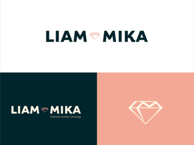 Millennial diamond retail logo with L & M