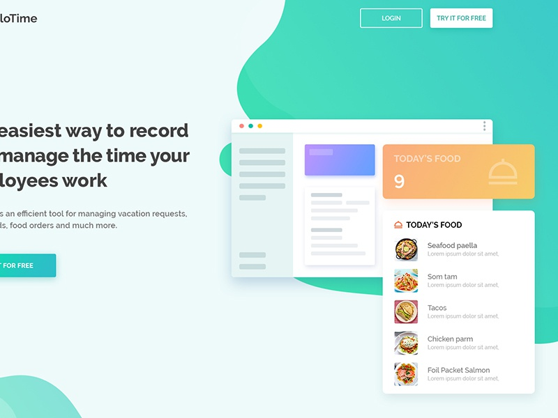 HelloTime Project track web illustration vacation manage psd ux ui record time hello