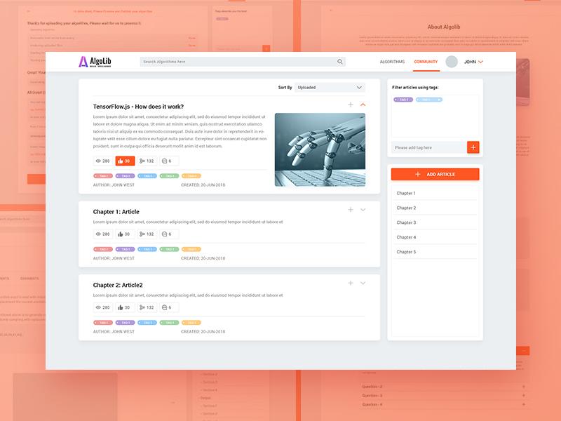 AlgoLib Application ux ui economy market application web code algolib algorithm