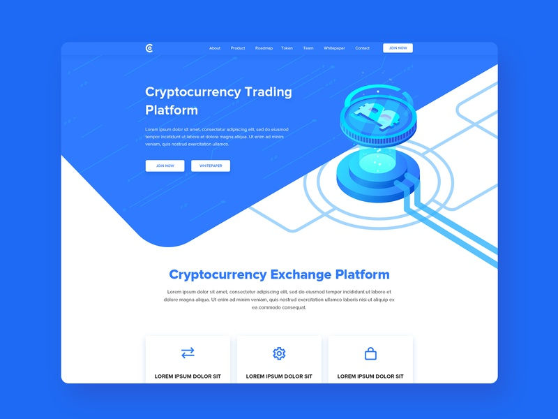 cryptocurrency Landing page ico illustraion landing page web design illustration web ux ui block chain bitcoin exchange currency crypto