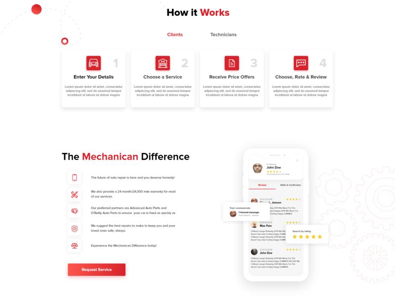Mechanican.com mobile ui landingpage webdesign web design illustration ux web ui