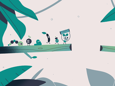 critters illustration minimal minimalism green critter leaf plants jungle cute animation motion design