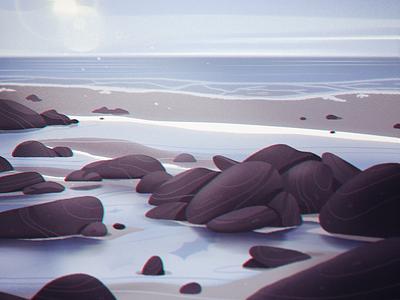 Tidepools painting photoshop rocks nature landscape graphic design ocean beach illustration