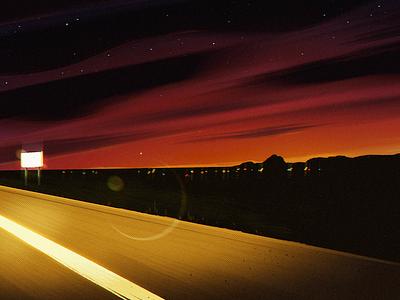 Lost Highway space styleframe background environment landscape design illustration