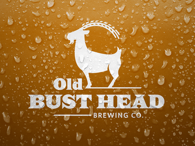 Old Bust Head Brewing Company Identity logo identity beer brand branding drips drops mark goat barley brewing