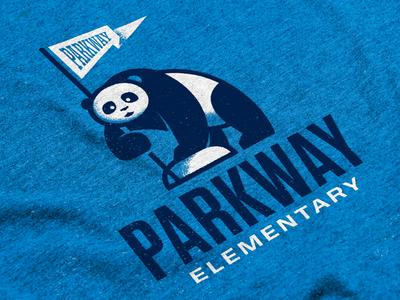 Parkway Elementary T-Shirt illustration lineart elementary flag blue shirt bear panda school tshirt