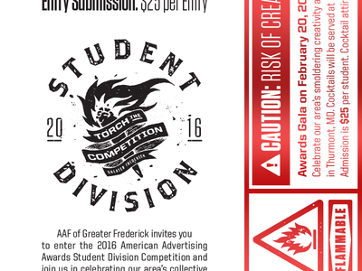 Upcoming AAA Student Division sticker warning label caution flame torch fire seal stamp