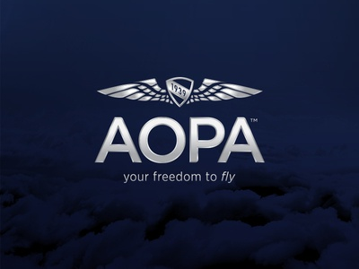 AOPA Identity flight fly freedom blue identity airplane aircraft wings year icon shield logo