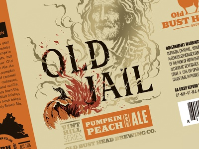 OBH Old Jail Label packaging metallic peach pumpkin jail brewing brewery label beer