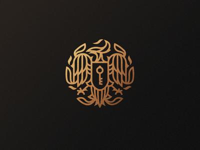 Upcoming Identity Exploration flame fire feather line heraldic shield key crest phoenix bird