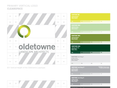 Oldetowne Identity Guide green branding tree landscape palette color standards guide identity logo