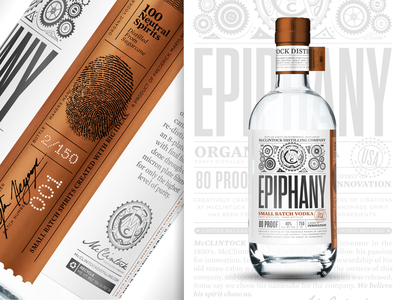 McClintock Distilling Epiphany Vodka copper small batch gear spirit distillery packaging liquor foil vodka label bottle