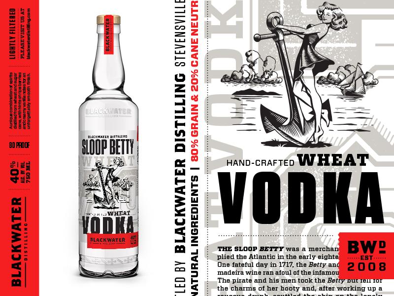 Blackwater Distilling Sloop Betty Vodka branding typography liquor distilling distillery packaging illustration label bottle pinup vodka