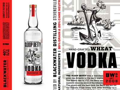 Blackwater Distilling Sloop Betty Vodka branding typography liquor distilling distillery packaging illustration label bottle pinup vodka