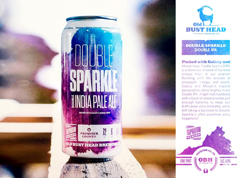 Double Sparkle Double IPA goat craft gradient logo brand design packaging brewery brewing can beer