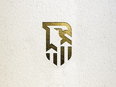 Unused Concept simple arrows identity paper gold eagle shield bird line monoline logo