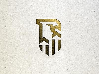 Unused Concept simple arrows identity paper gold eagle shield bird line monoline logo