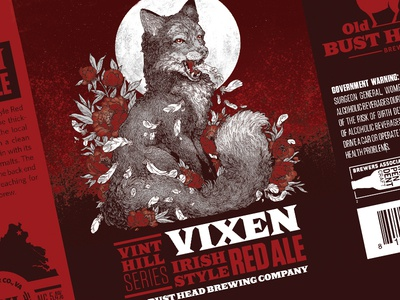 OBH Vixen Irish Style Red Ale red typography moon packaging fox illustration bottle branding seal brewery identity label brewing beer