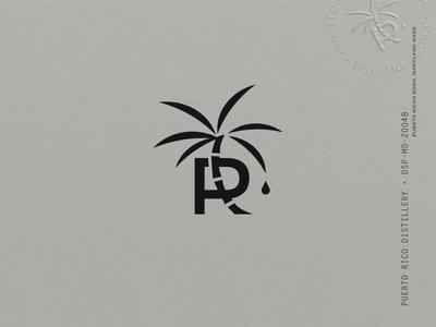 Puerto Rico Distillery Identity stamp illustration palm tree drop spirit distillery pitorro rum puerto rico cane palm branding design identity label logo