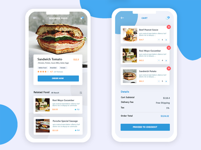 Food Delivery App search cafe rizal design interface blue sandwich food restaurant app