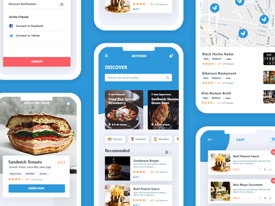 GetFood Delivery App search cafe rizal design interface blue sandwich map food profile restaurant app