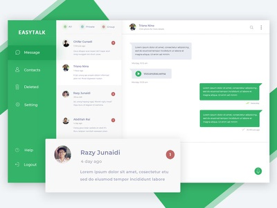 Chatting App Exploration dashboard talk easy green clean smooth user ux ui design app chatting