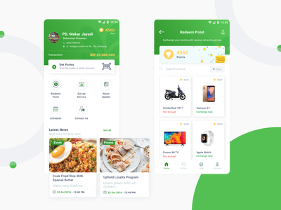 Food Selling Exploration sell exchange point redeem point point learn ui uidesign design green simple clean app food