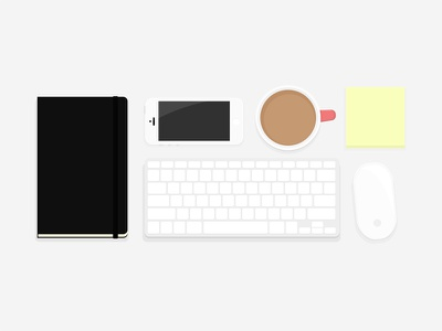 Desk Essentials coffee sticky notes moleskine magic mouse desk keyboard iphone things organized neatly