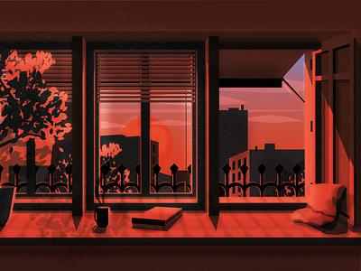 Cosy summer evening photoshop illustrator interior apartment europe perspective sky summer evening red warm window cosy illustration