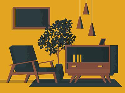 Vintage Interior flat illustrator cosy 60s sixties minimal brush furniture warm interior vintage