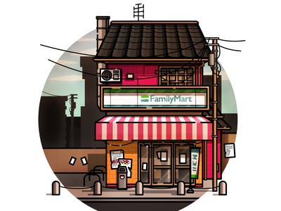 Japanese Storefront street convenience store japanese culture warm illustration japanese food convenience store storefront japan cosy