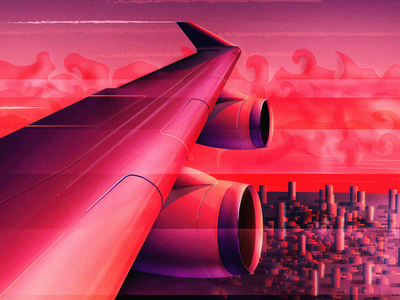 Sunset Approach wing illustration fly evening travel aircraft airplane sunset plane