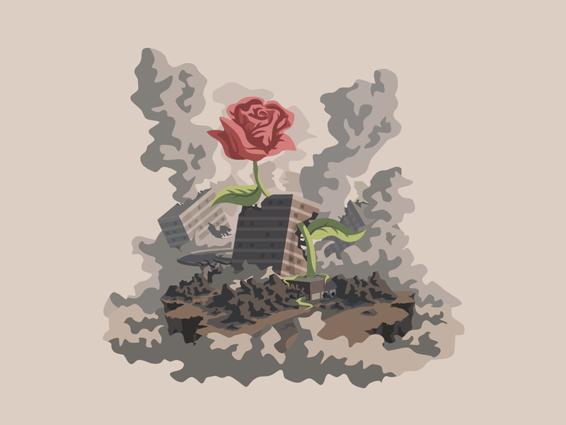 Chaos life plant debris smoke affinitydesigner illustration city illustration vector chaos city destroyed rose ruins buildings environment