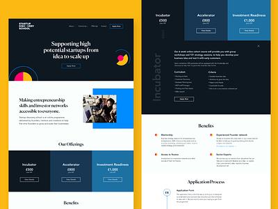 Start-Up Discovery School Website accelerator startup webdesign website ui design