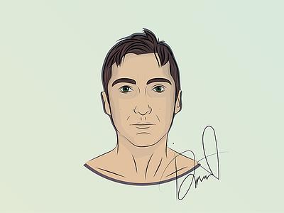 Self-portrait vector illustration face man self-portrait portrait