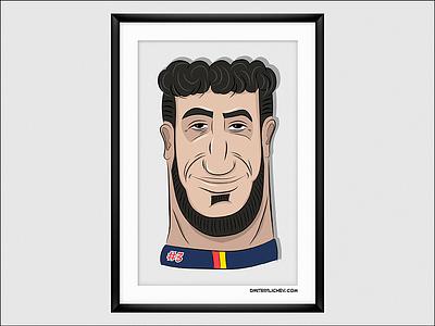 Daniel Ricciardo (2018, RedBull Racing) sport smile vector drawing formula1 portrait illustration