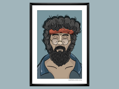 """""""Up in smoke"""", Chong vector illustrator up in smoke character movie portrait illustration"""
