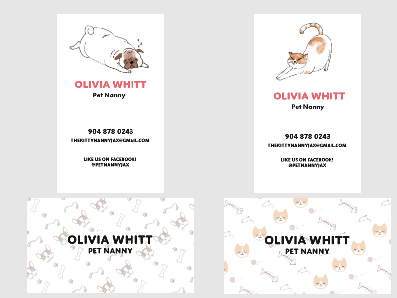 Pet Sitting Business Card Cat Dog Dogs Cats Cute Pets Branding Design Graphic Ilration