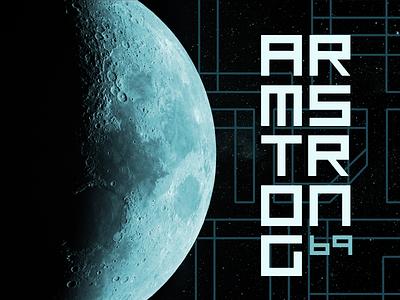 Armstrong '69 - Arkitekt typeface example sci-fi futuristic modern typeface font arkitekt moon landing moon armstrong space