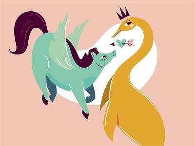Peggy & Nessy peggy lochness monster nessy pegasus vector illustrator illustration ill