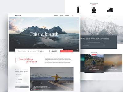 Your Next Adventure ui landing layout ecommerce concept webdesign travel landing page stxnext