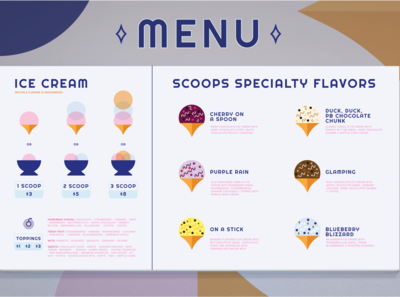 Scoops Ice Cream Co. Menu