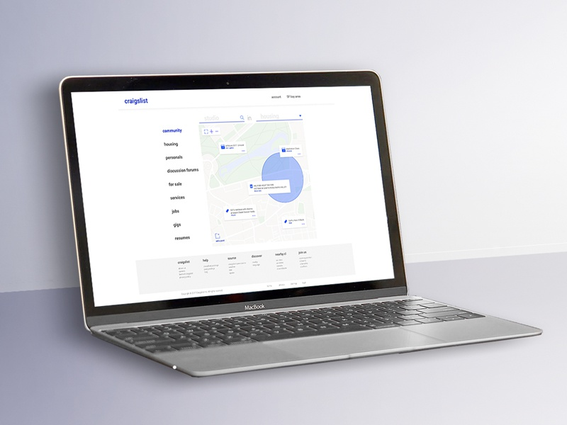 Craigslist Homepage Redesign ux user onboarding map design ux design ui design web design redesign craigslist